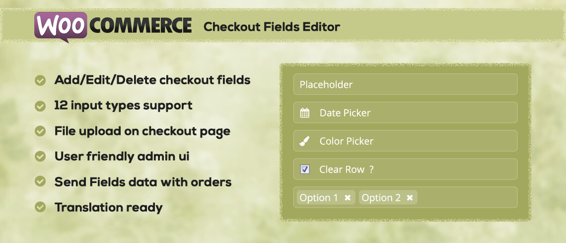 WC Checkout Fields Editor - Plugin | Documentation
